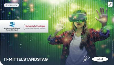 Logo IT-Mittelstandstag 2020 Wirtschaftsförderung Region Stuttgart mit Bild junge Frau mit VR-Brille vor grünem HIntergrund