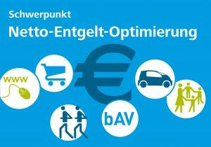 Grafik Talente-Schwerpunkt Netto-Entgelt-Optimierung, Icons um Euro-Zeichen gruppiert